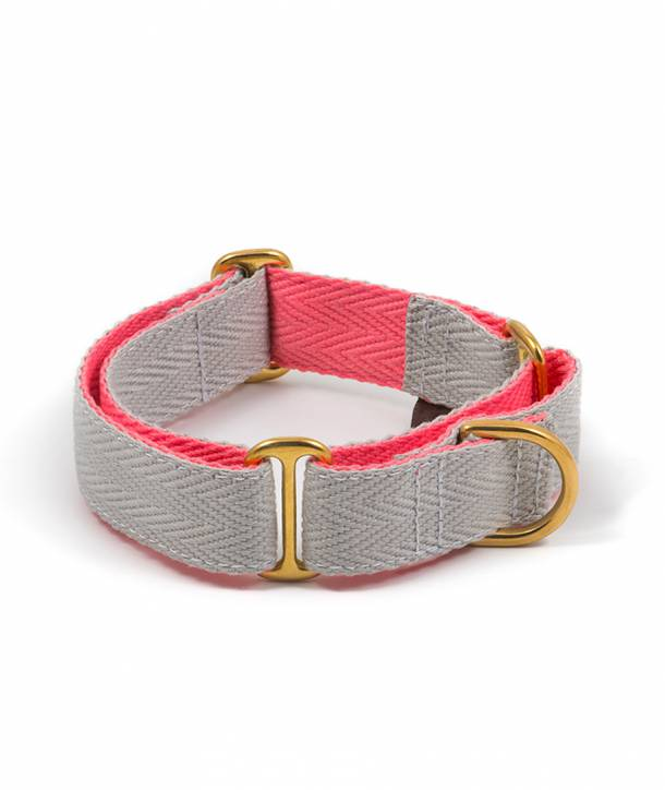 Grey and candy pink dog collar