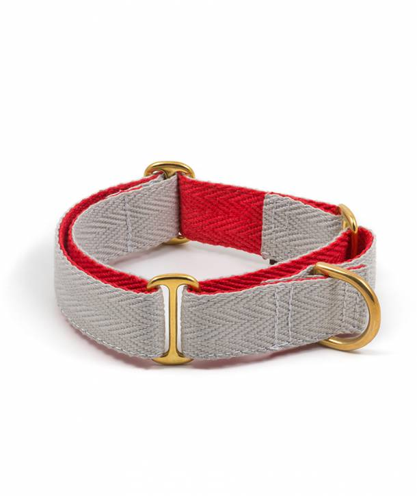 Grey and red dog collar
