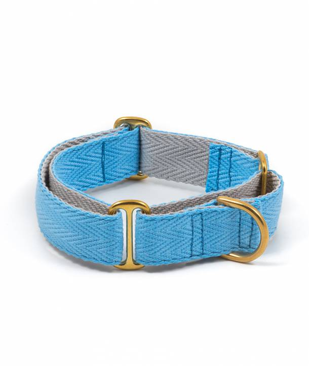 Sky blue and grey greyhound collar